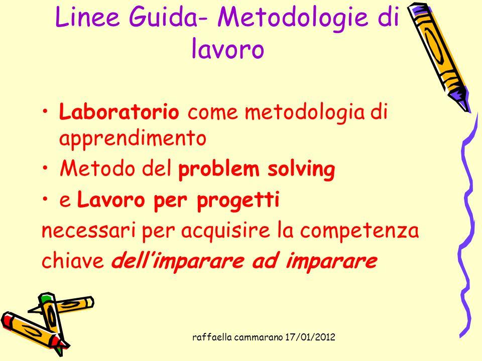 Linee Guida- Metodologie di lavoro Laboratorio come metodologia di apprendimento Metodo del problem solving e Lavoro per progetti necessari per acquis