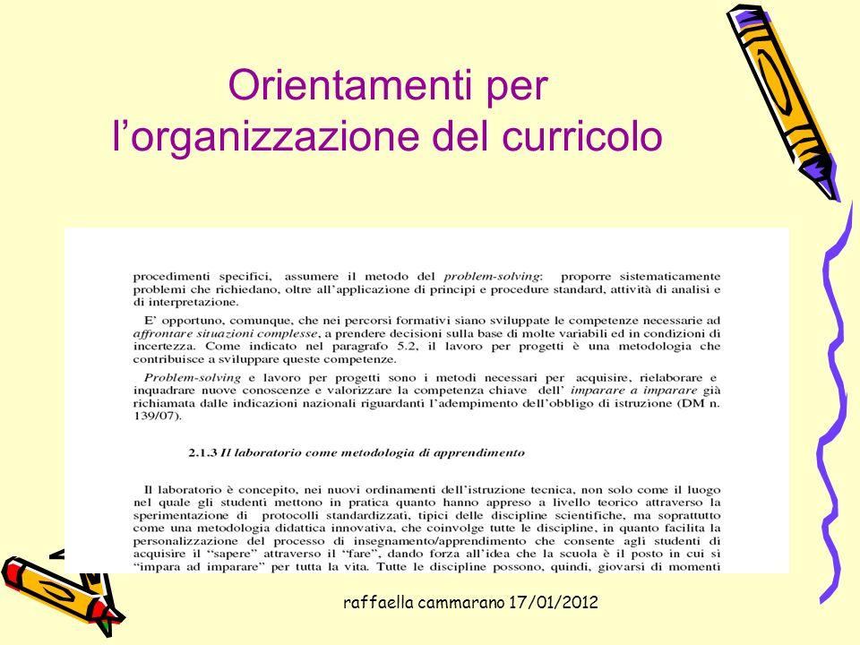 raffaella cammarano 17/01/2012 Orientamenti per lorganizzazione del curricolo