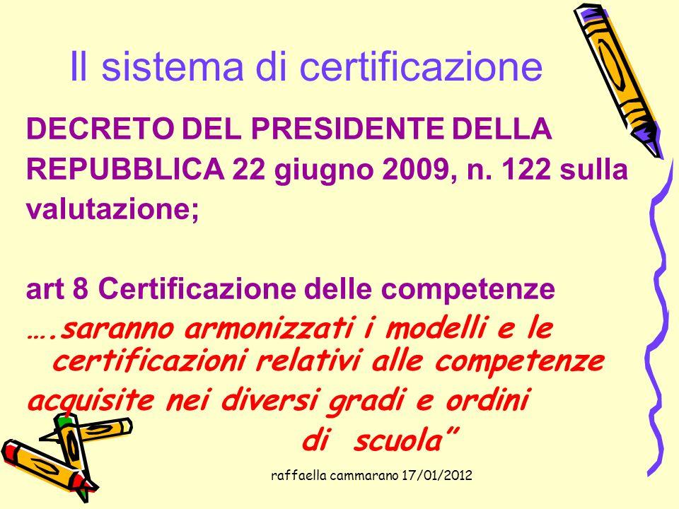 raffaella cammarano 17/01/2012 Il sistema di certificazione DECRETO DEL PRESIDENTE DELLA REPUBBLICA 22 giugno 2009, n. 122 sulla valutazione; art 8 Ce