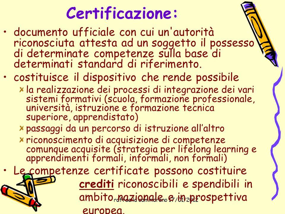 raffaella cammarano 17/01/2012 Certificazione: documento ufficiale con cui un'autorità riconosciuta attesta ad un soggetto il possesso di determinate