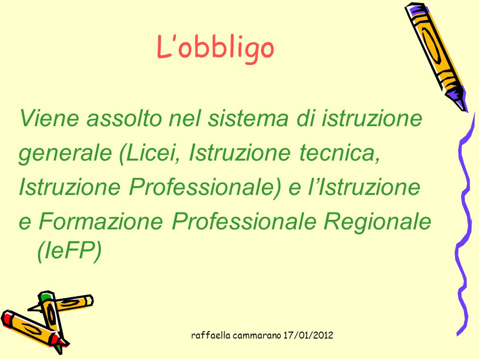 raffaella cammarano 17/01/2012 Lobbligo Viene assolto nel sistema di istruzione generale (Licei, Istruzione tecnica, Istruzione Professionale) e lIstr