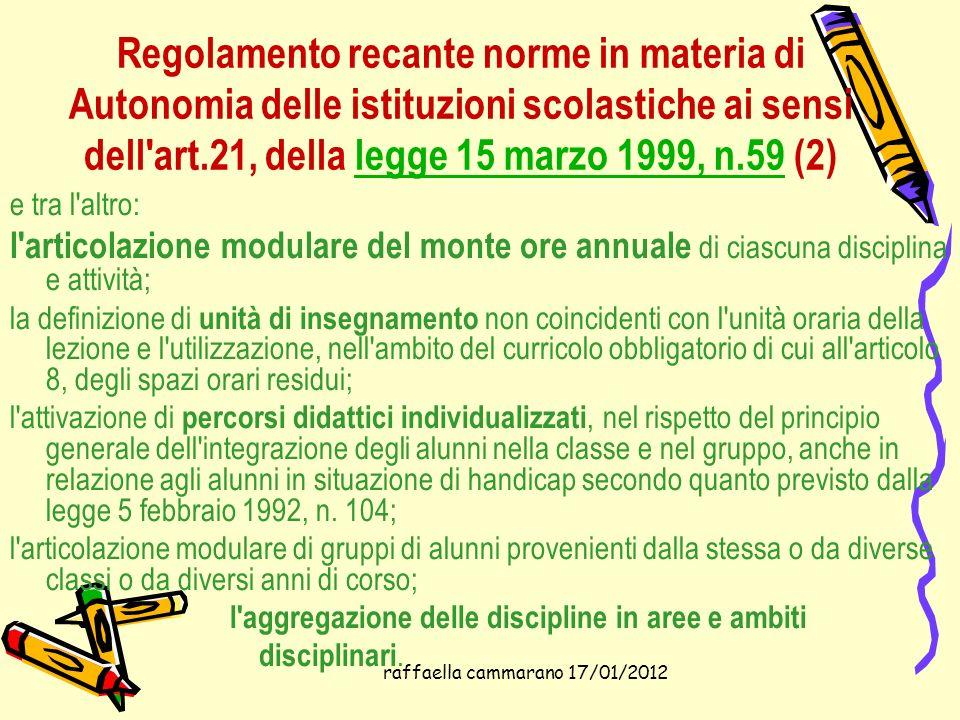 raffaella cammarano 17/01/2012 Regolamento recante norme in materia di Autonomia delle istituzioni scolastiche ai sensi dell'art.21, della legge 15 ma