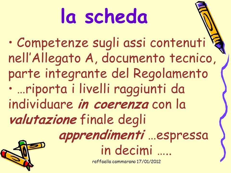raffaella cammarano 17/01/2012 la scheda Competenze sugli assi contenuti nellAllegato A, documento tecnico, parte integrante del Regolamento …riporta