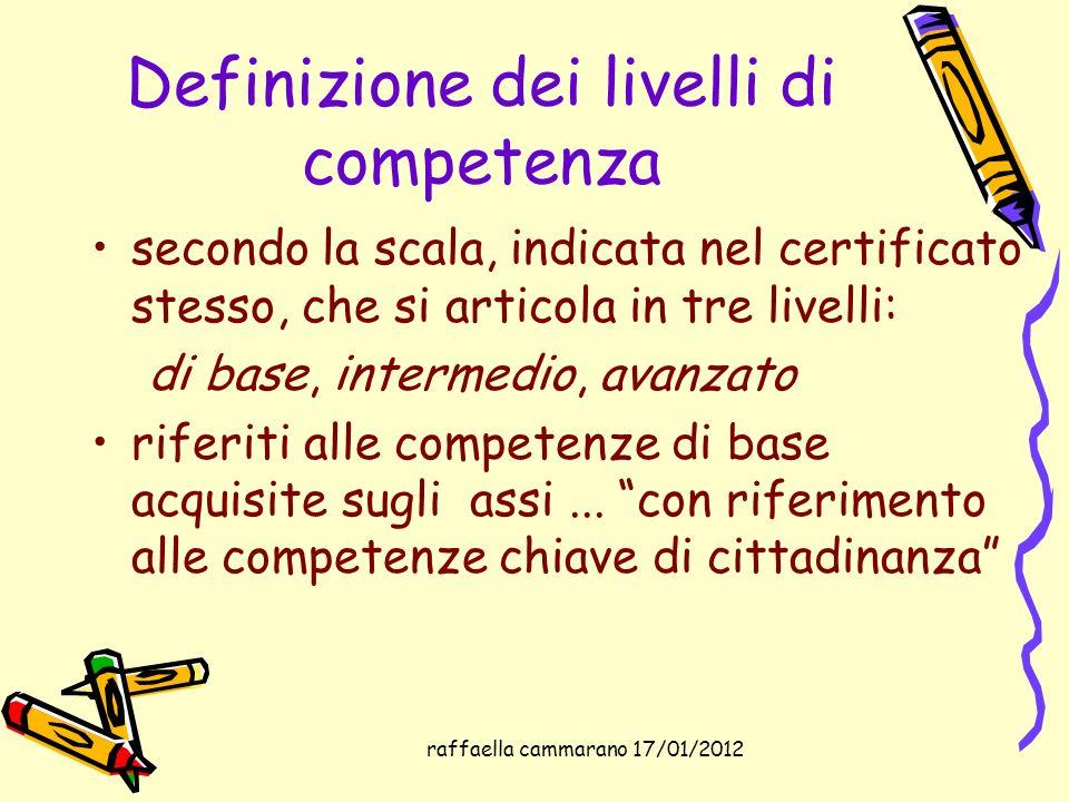 Definizione dei livelli di competenza secondo la scala, indicata nel certificato stesso, che si articola in tre livelli: di base, intermedio, avanzato