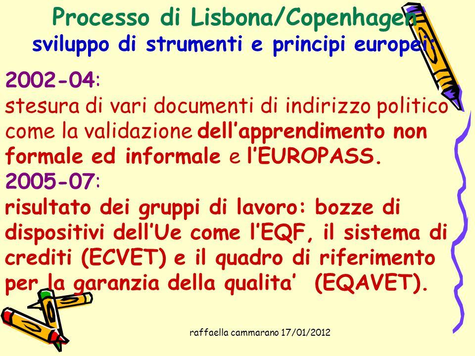 raffaella cammarano 17/01/2012 Processo di Lisbona/Copenhagen sviluppo di strumenti e principi europei: 2002-04: stesura di vari documenti di indirizz