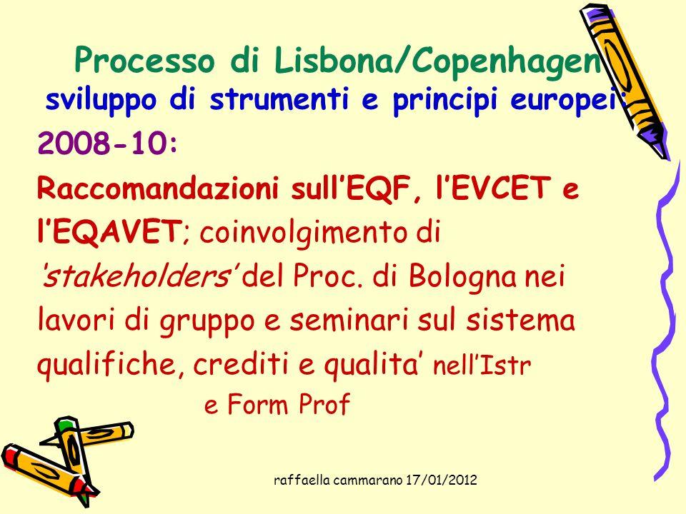 raffaella cammarano 17/01/2012 Processo di Lisbona/Copenhagen sviluppo di strumenti e principi europei: 2008-10: Raccomandazioni sullEQF, lEVCET e lEQ