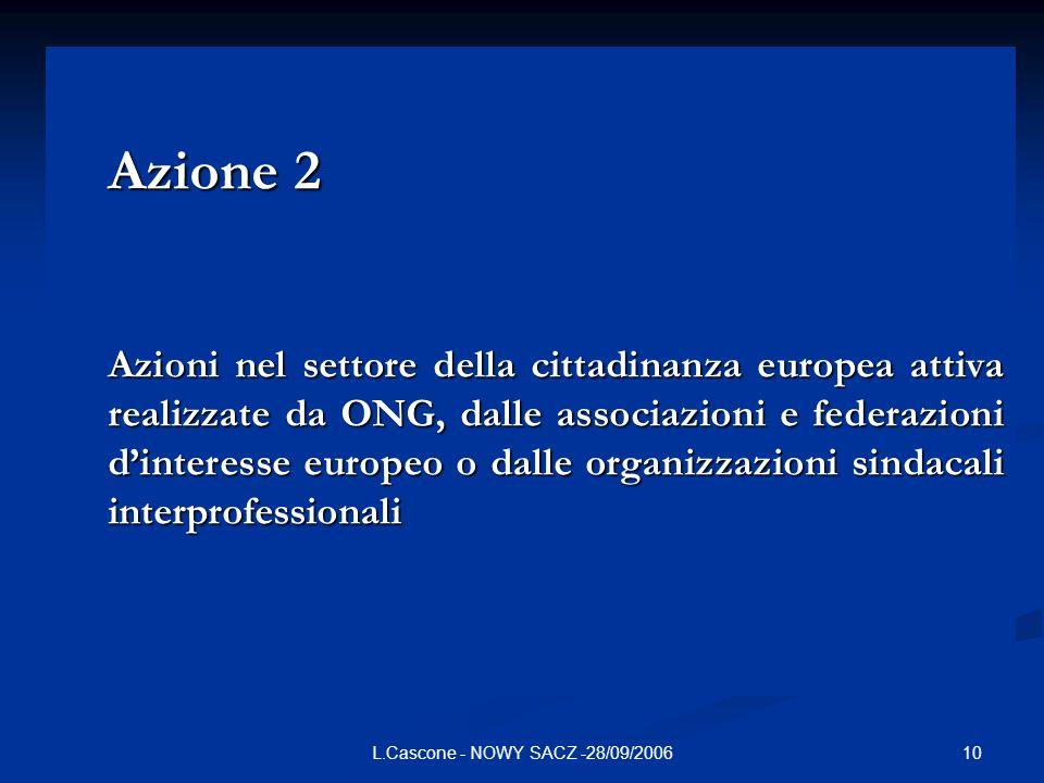 10L.Cascone - NOWY SACZ -28/09/2006 Azione 2 Azioni nel settore della cittadinanza europea attiva realizzate da ONG, dalle associazioni e federazioni