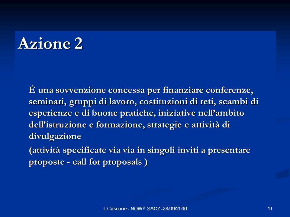 11L.Cascone - NOWY SACZ -28/09/2006 Azione 2 È una sovvenzione concessa per finanziare conferenze, seminari, gruppi di lavoro, costituzioni di reti, s