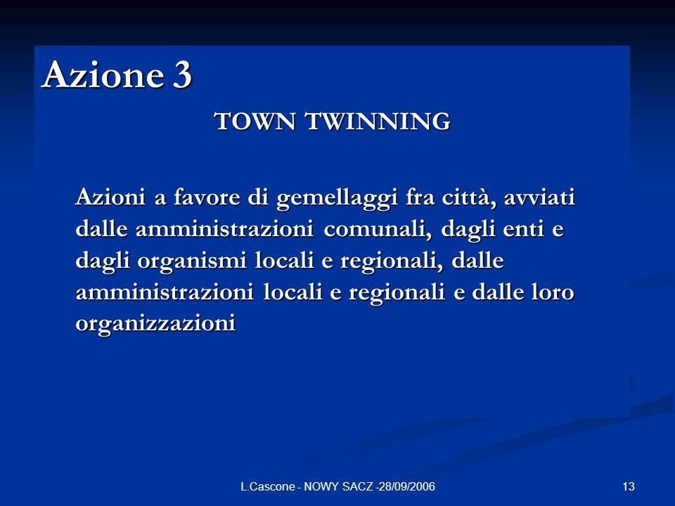 13L.Cascone - NOWY SACZ -28/09/2006 Azione 3 TOWN TWINNING Azioni a favore di gemellaggi fra città, avviati dalle amministrazioni comunali, dagli enti