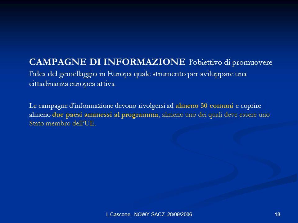 18L.Cascone - NOWY SACZ -28/09/2006 CAMPAGNE DI INFORMAZIONE lobiettivo di promuovere lidea del gemellaggio in Europa quale strumento per sviluppare u