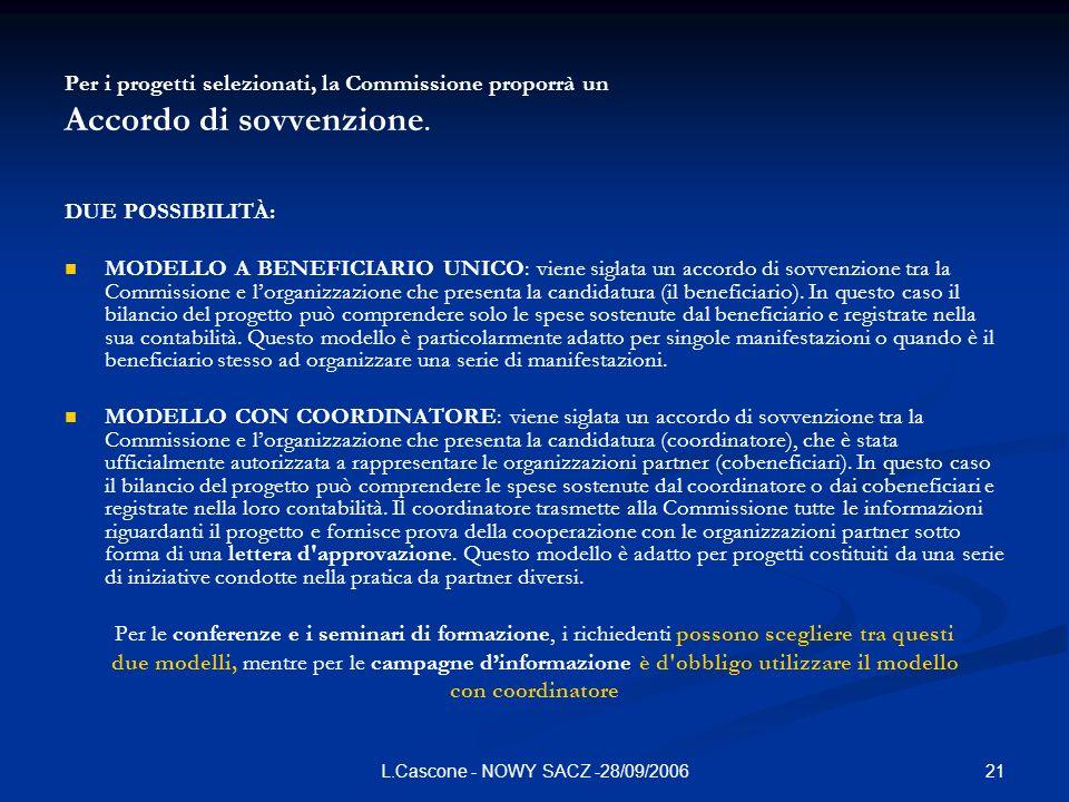 21L.Cascone - NOWY SACZ -28/09/2006 Per i progetti selezionati, la Commissione proporrà un Accordo di sovvenzione. DUE POSSIBILITÀ: MODELLO A BENEFICI