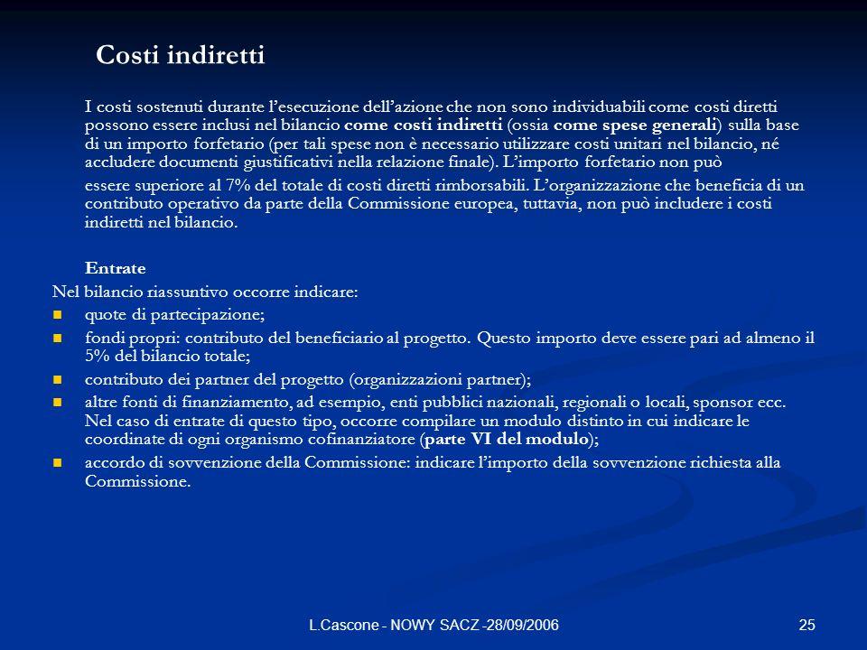 25L.Cascone - NOWY SACZ -28/09/2006 Costi indiretti I costi sostenuti durante lesecuzione dellazione che non sono individuabili come costi diretti pos