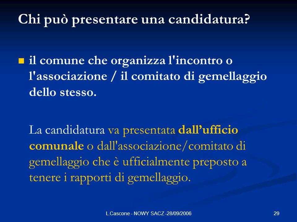 29L.Cascone - NOWY SACZ -28/09/2006 Chi può presentare una candidatura? il comune che organizza l'incontro o l'associazione / il comitato di gemellagg