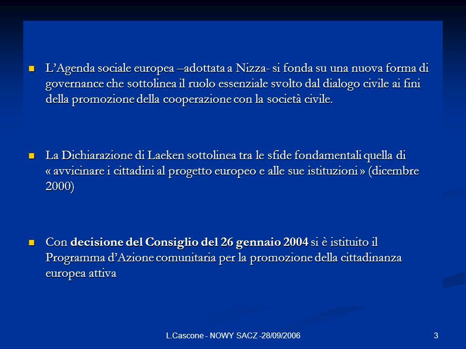 3L.Cascone - NOWY SACZ -28/09/2006 LAgenda sociale europea –adottata a Nizza- si fonda su una nuova forma di governance che sottolinea il ruolo essenz