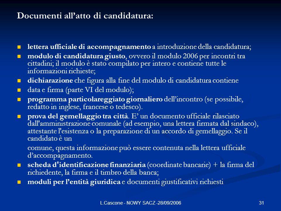 31L.Cascone - NOWY SACZ -28/09/2006 Documenti allatto di candidatura: lettera ufficiale di accompagnamento a introduzione della candidatura; modulo di