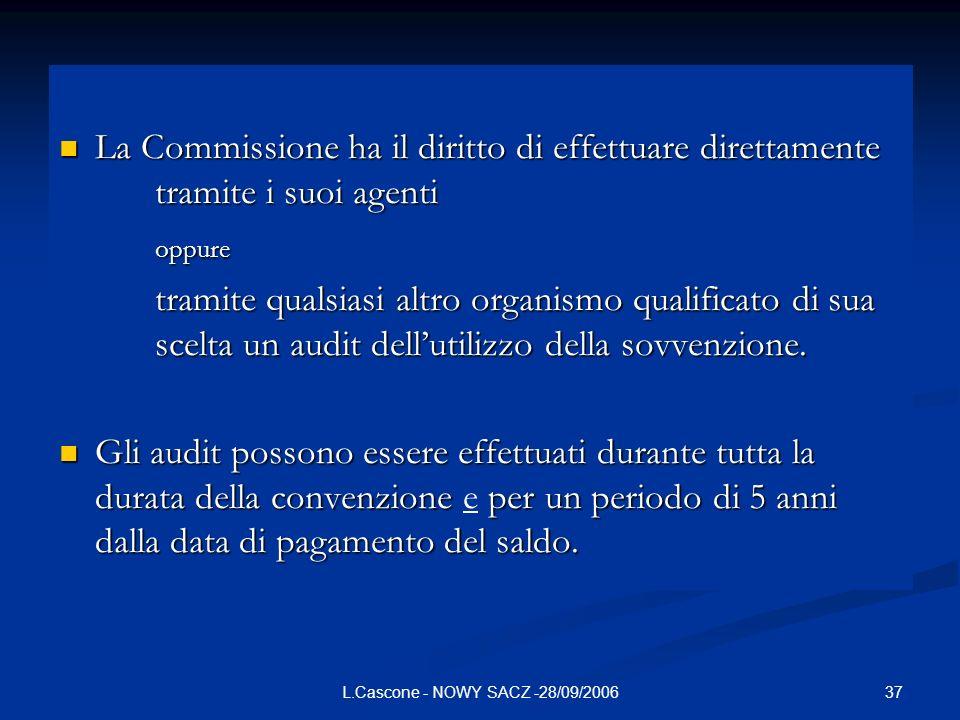 37L.Cascone - NOWY SACZ -28/09/2006 La Commissione ha il diritto di effettuare direttamente tramite i suoi agenti La Commissione ha il diritto di effe