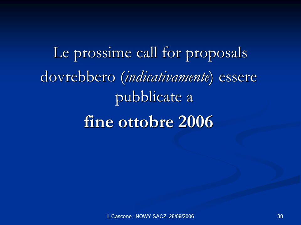 38L.Cascone - NOWY SACZ -28/09/2006 Le prossime call for proposals Le prossime call for proposals dovrebbero (indicativamente) essere pubblicate a fin