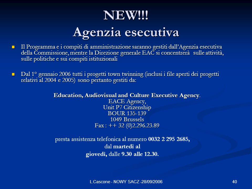 40L.Cascone - NOWY SACZ -28/09/2006 NEW!!! Agenzia esecutiva Il Programma e i compiti di amministrazione saranno gestiti dallAgenzia esecutiva della C