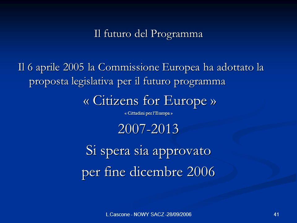 41L.Cascone - NOWY SACZ -28/09/2006 Il futuro del Programma Il 6 aprile 2005 la Commissione Europea ha adottato la proposta legislativa per il futuro