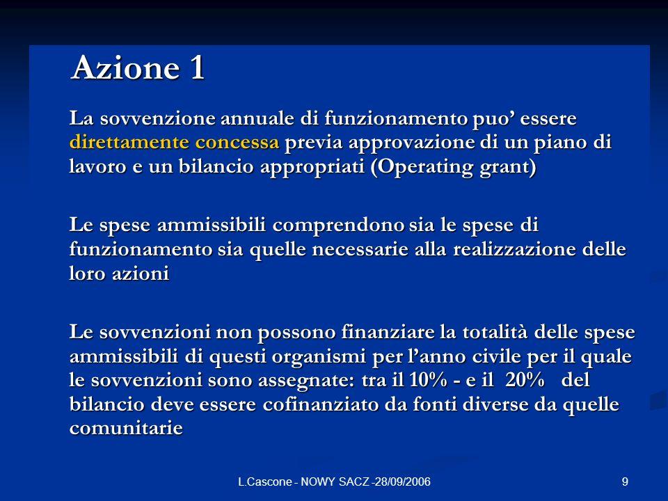 9L.Cascone - NOWY SACZ -28/09/2006 Azione 1 Azione 1 La sovvenzione annuale di funzionamento puo essere direttamente concessa previa approvazione di u