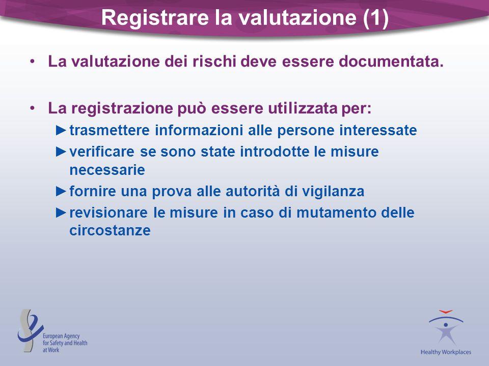 Registrare la valutazione (1) La valutazione dei rischi deve essere documentata. La registrazione può essere utilizzata per: trasmettere informazioni