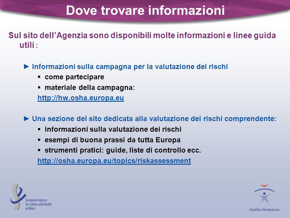 Dove trovare informazioni Sul sito dellAgenzia sono disponibili molte informazioni e linee guida utili : Informazioni sulla campagna per la valutazion