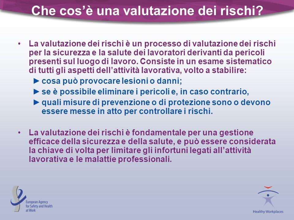 Che cosè una valutazione dei rischi? La valutazione dei rischi è un processo di valutazione dei rischi per la sicurezza e la salute dei lavoratori der