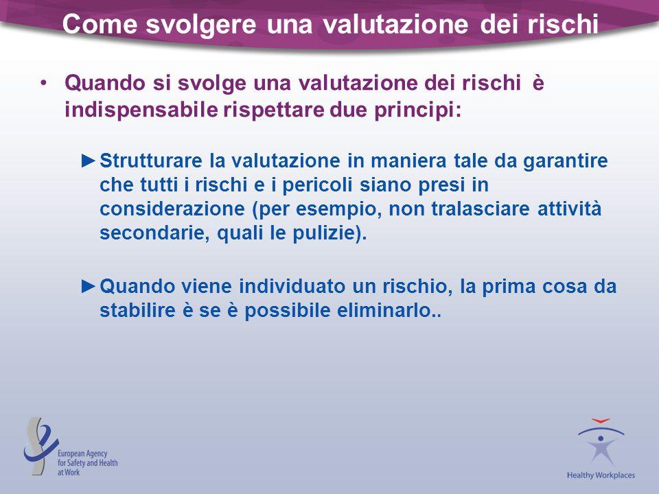 Come svolgere una valutazione dei rischi Quando si svolge una valutazione dei rischi è indispensabile rispettare due principi: Strutturare la valutazi