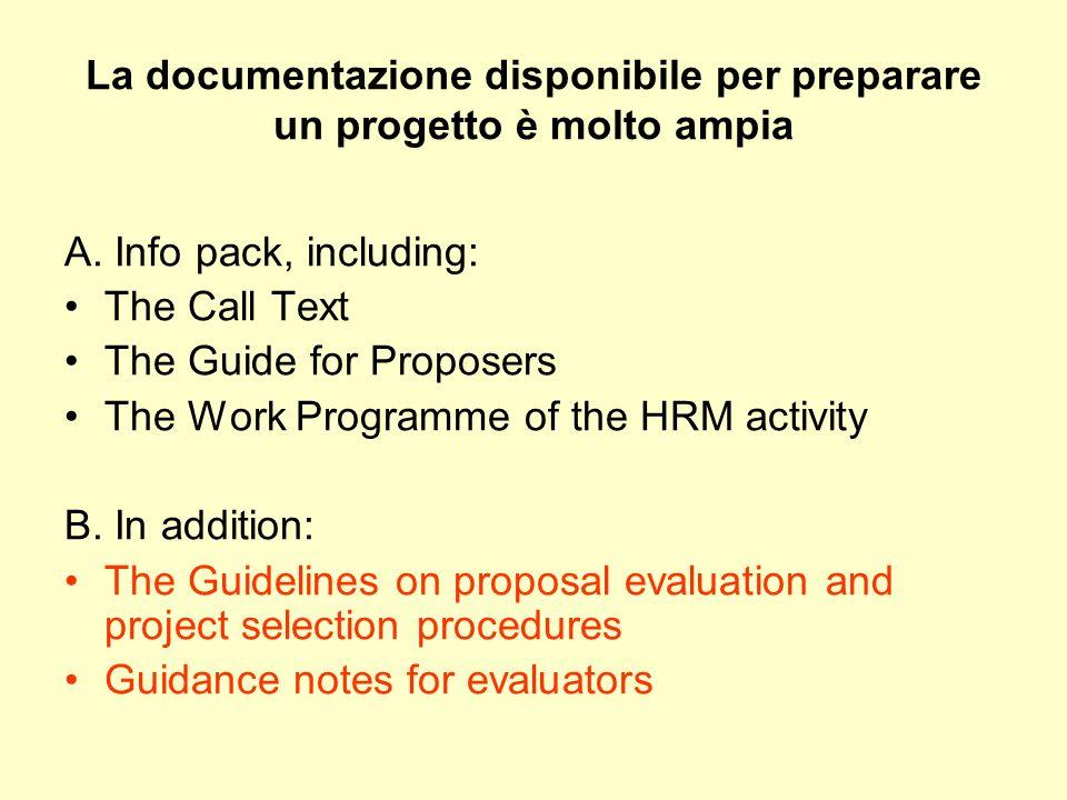 La documentazione disponibile per preparare un progetto è molto ampia A. Info pack, including: The Call Text The Guide for Proposers The Work Programm