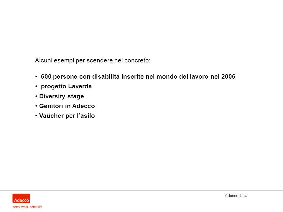 Adecco Italia Alcuni esempi per scendere nel concreto: 600 persone con disabilità inserite nel mondo del lavoro nel 2006 progetto Laverda Diversity st