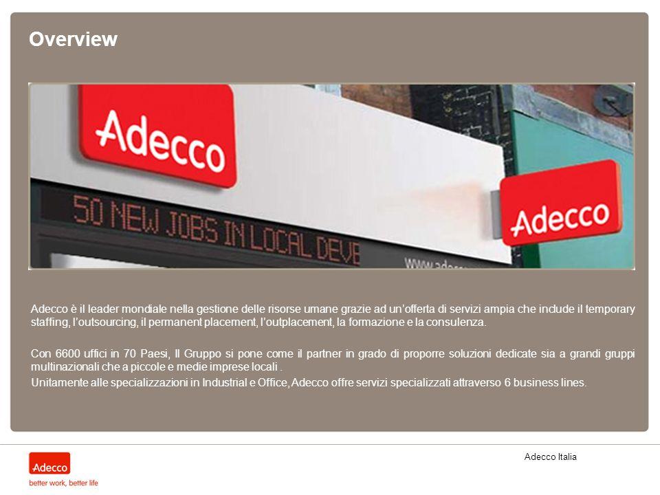 Adecco Italia Overview Adecco è il leader mondiale nella gestione delle risorse umane grazie ad unofferta di servizi ampia che include il temporary st