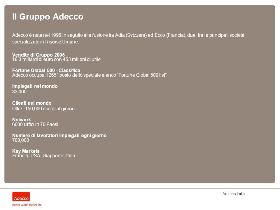 Adecco Italia Il Gruppo Adecco Adecco è nata nel 1996 in seguito alla fusione tra Adia (Svizzera) ed Ecco (Francia), due fra le principali società spe