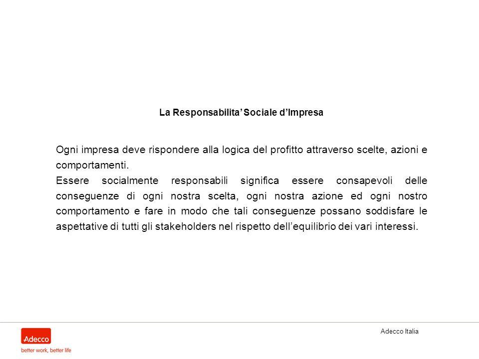 Adecco Italia La Responsabilita Sociale dImpresa Ogni impresa deve rispondere alla logica del profitto attraverso scelte, azioni e comportamenti. Esse