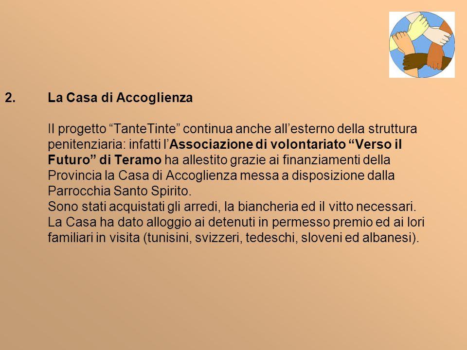 2.La Casa di Accoglienza Il progetto TanteTinte continua anche allesterno della struttura penitenziaria: infatti lAssociazione di volontariato Verso i