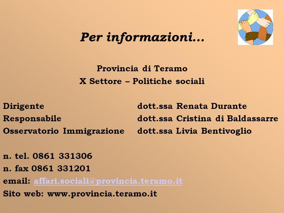 Per informazioni… Provincia di Teramo X Settore – Politiche sociali Dirigente dott.ssa Renata Durante Responsabile dott.ssa Cristina di Baldassarre Os