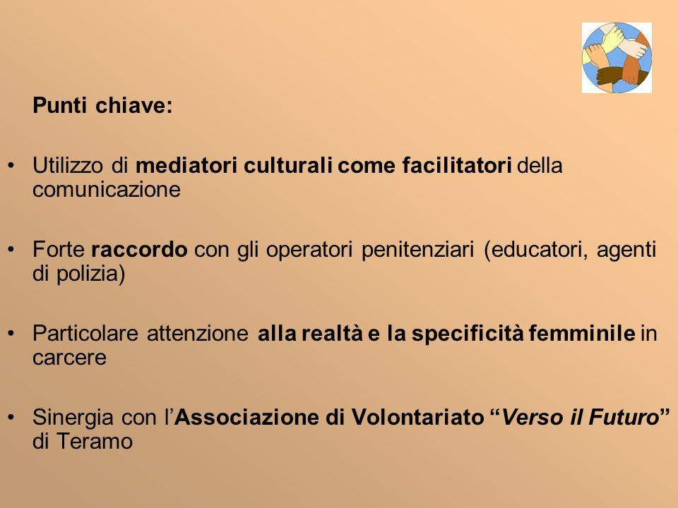 Punti chiave: Utilizzo di mediatori culturali come facilitatori della comunicazione Forte raccordo con gli operatori penitenziari (educatori, agenti d