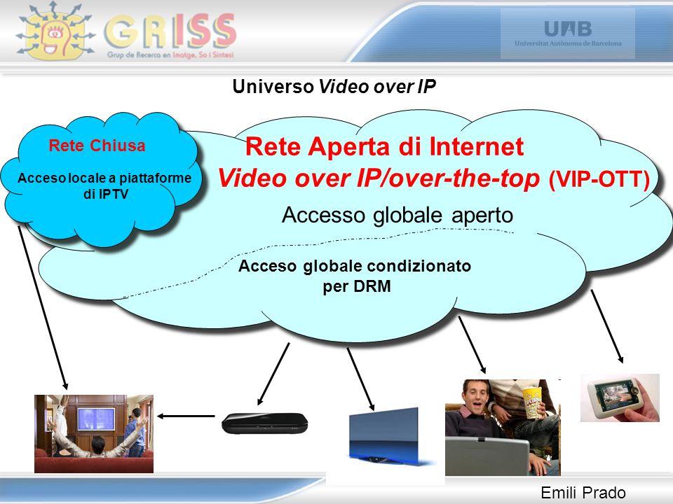FLUJO ESTOC Streaming Download Piattaforme di IPTV Canali di TV Web di Canali de TV Repositories di TV Repositories di cinema Repositories bracconieri P2P Repositories di UGC Web di altri media Videoblog Video en le Reti sociali Video in le blog Video in altri Web TIPOLOGIA VIDEO OVER IP (Work in progress) Reti sociali di video Indicizzatori di contenuti Indicizzatori di contenuti bracconieri Saccheggio delle trasmissioni in diretta Emili Prado
