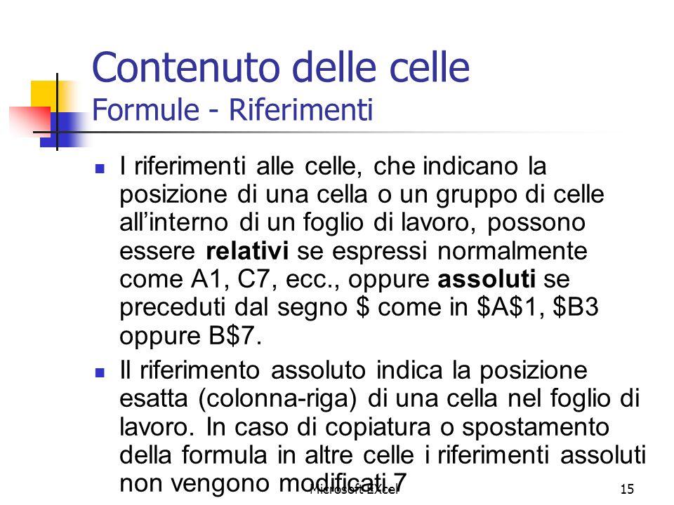 Microsoft EXcel15 Contenuto delle celle Formule - Riferimenti I riferimenti alle celle, che indicano la posizione di una cella o un gruppo di celle al