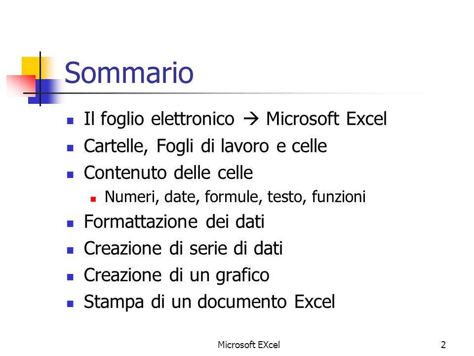 Microsoft EXcel2 Sommario Il foglio elettronico Microsoft Excel Cartelle, Fogli di lavoro e celle Contenuto delle celle Numeri, date, formule, testo,