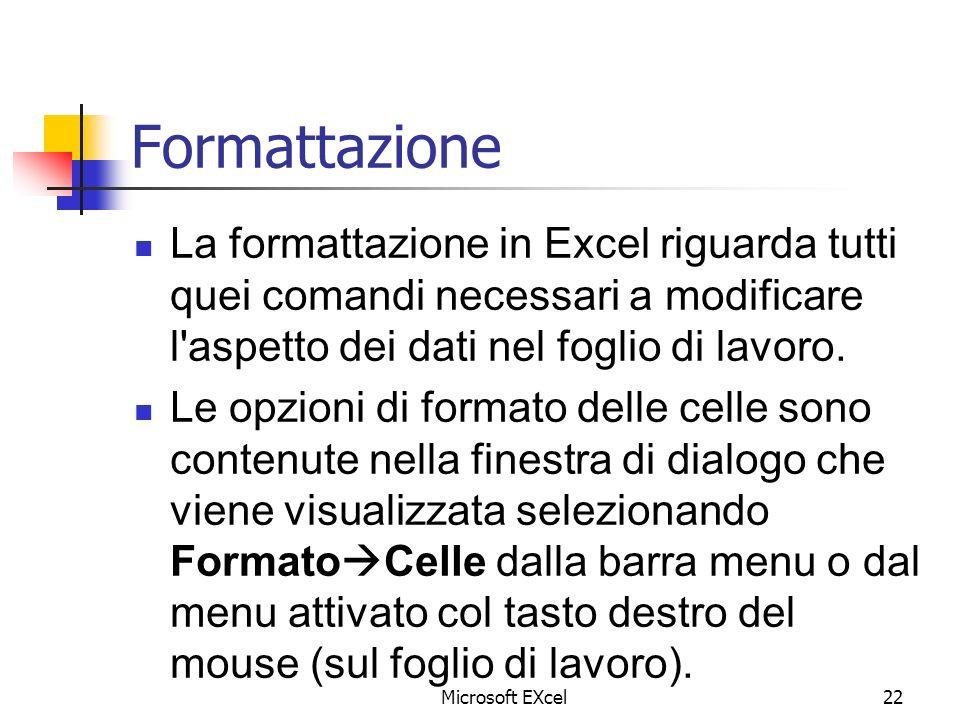 Microsoft EXcel22 Formattazione La formattazione in Excel riguarda tutti quei comandi necessari a modificare l'aspetto dei dati nel foglio di lavoro.