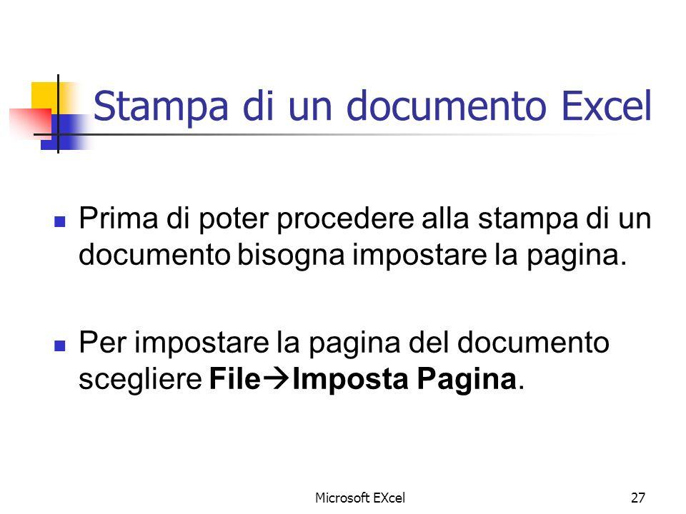 Microsoft EXcel27 Stampa di un documento Excel Prima di poter procedere alla stampa di un documento bisogna impostare la pagina. Per impostare la pagi