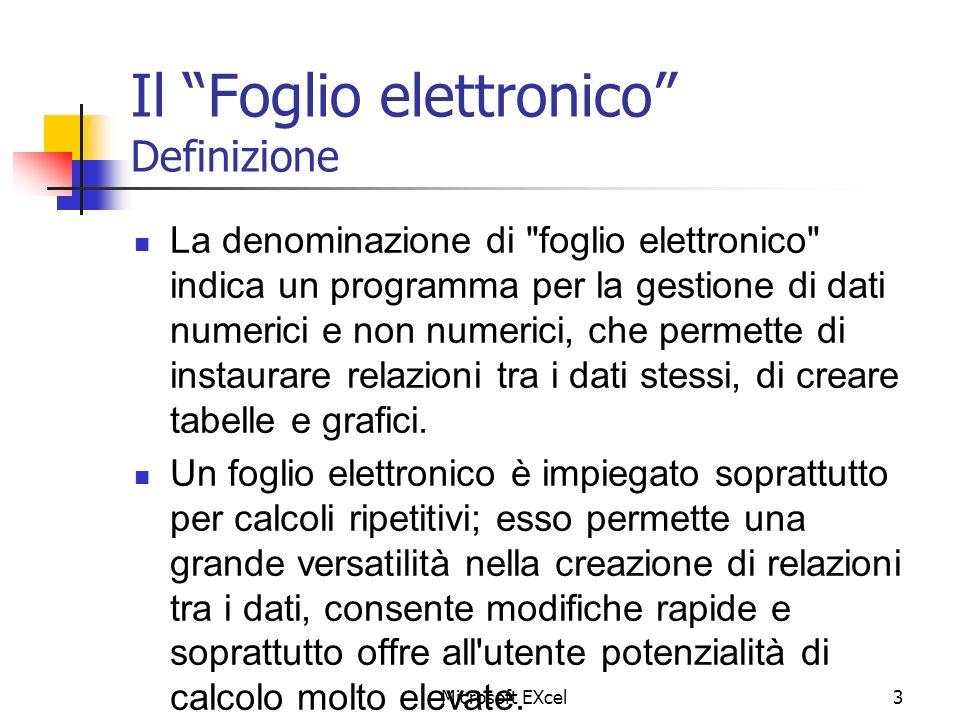 Microsoft EXcel3 Il Foglio elettronico Definizione La denominazione di