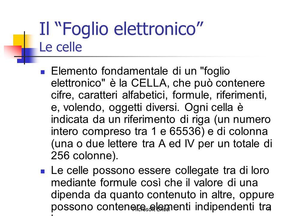 Microsoft EXcel4 Il Foglio elettronico Le celle Elemento fondamentale di un