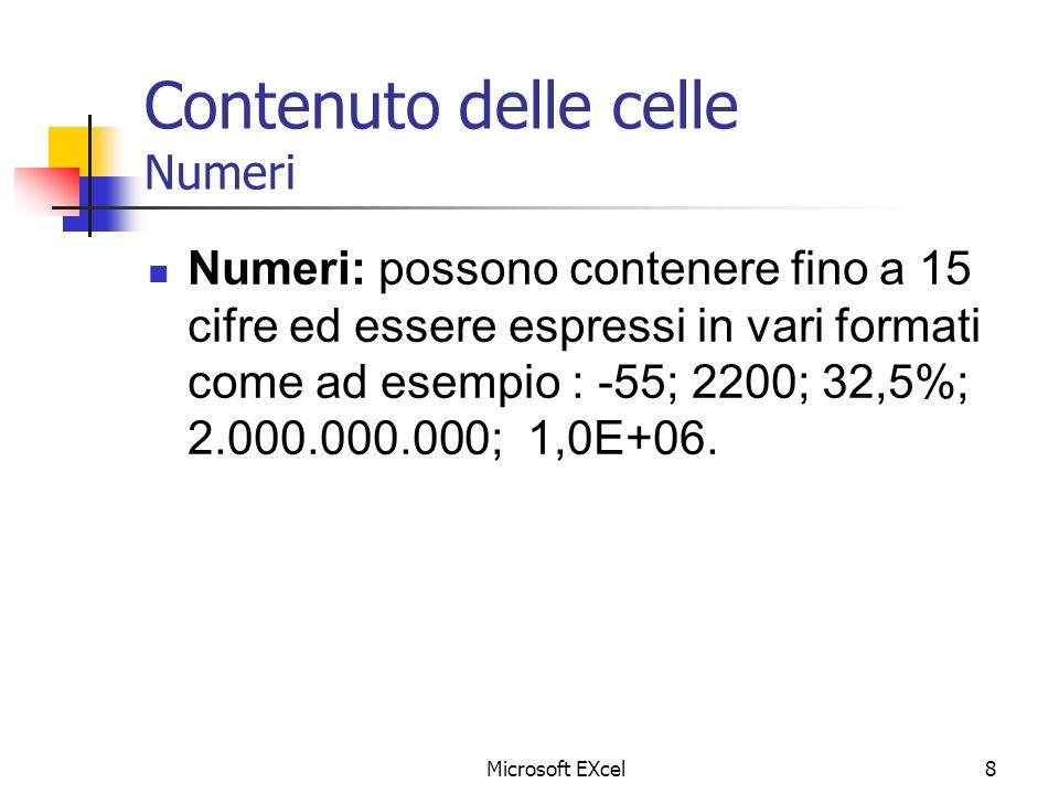 Microsoft EXcel8 Contenuto delle celle Numeri Numeri: possono contenere fino a 15 cifre ed essere espressi in vari formati come ad esempio : -55; 2200