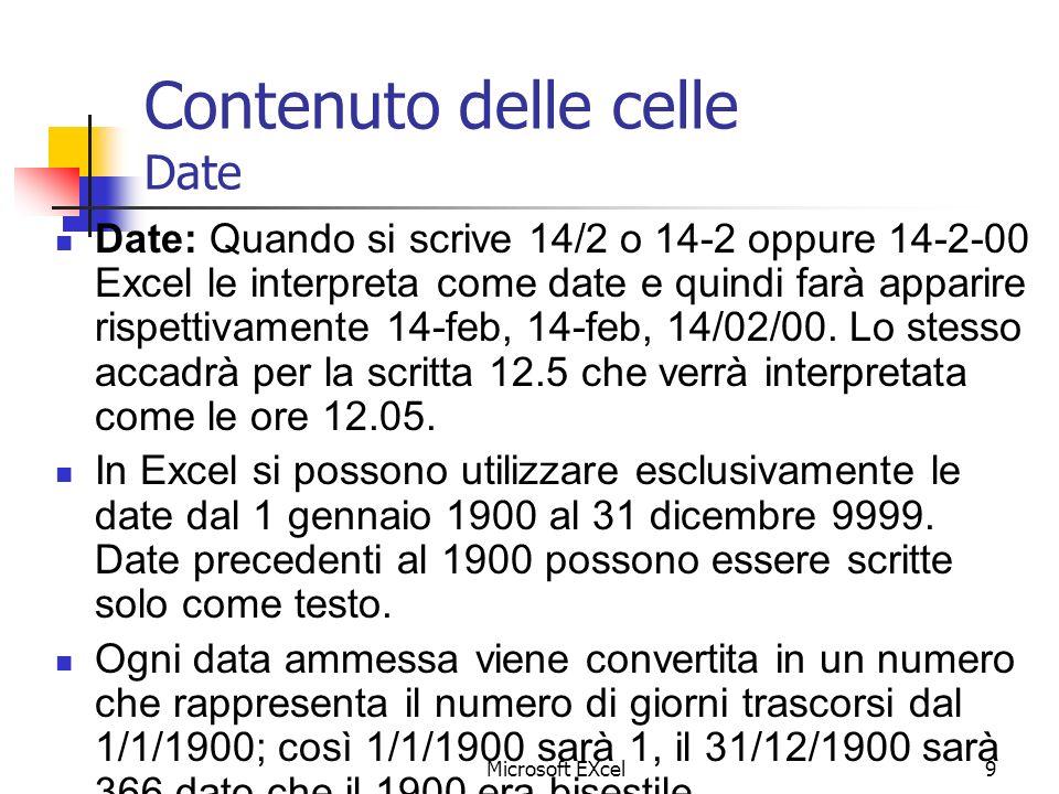 Microsoft EXcel9 Contenuto delle celle Date Date: Quando si scrive 14/2 o 14-2 oppure 14-2-00 Excel le interpreta come date e quindi farà apparire ris