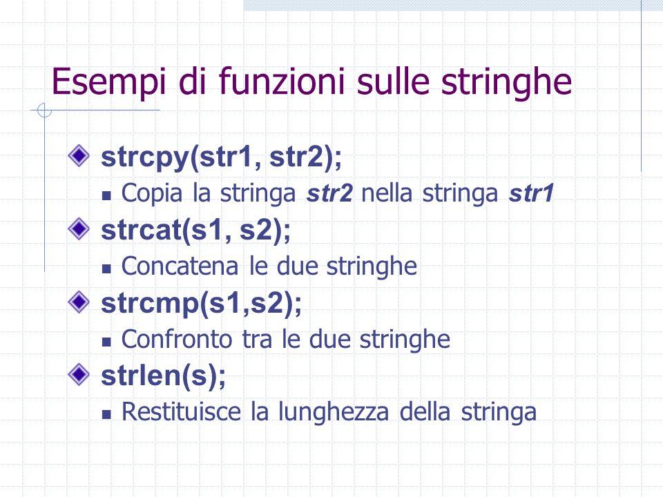 Esempi di funzioni sulle stringhe strcpy(str1, str2); Copia la stringa str2 nella stringa str1 strcat(s1, s2); Concatena le due stringhe strcmp(s1,s2)