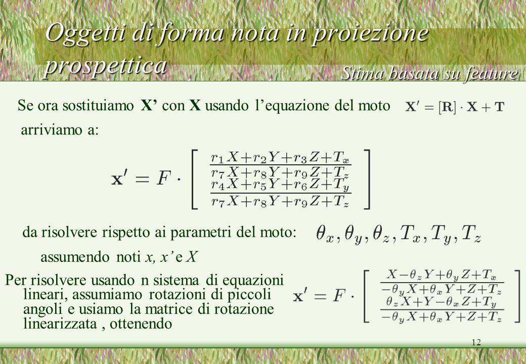 12 Oggetti di forma nota in proiezione prospettica Stima basata su feature Se ora sostituiamo X con X usando lequazione del moto arriviamo a: da risol