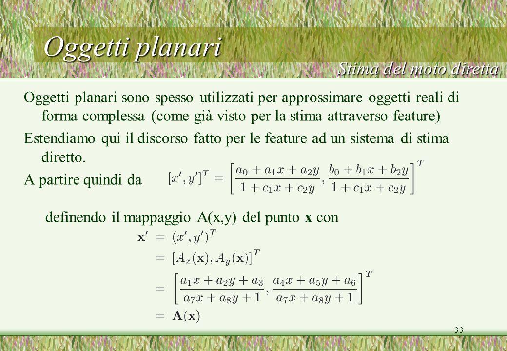 33 Oggetti planari Oggetti planari sono spesso utilizzati per approssimare oggetti reali di forma complessa (come già visto per la stima attraverso fe