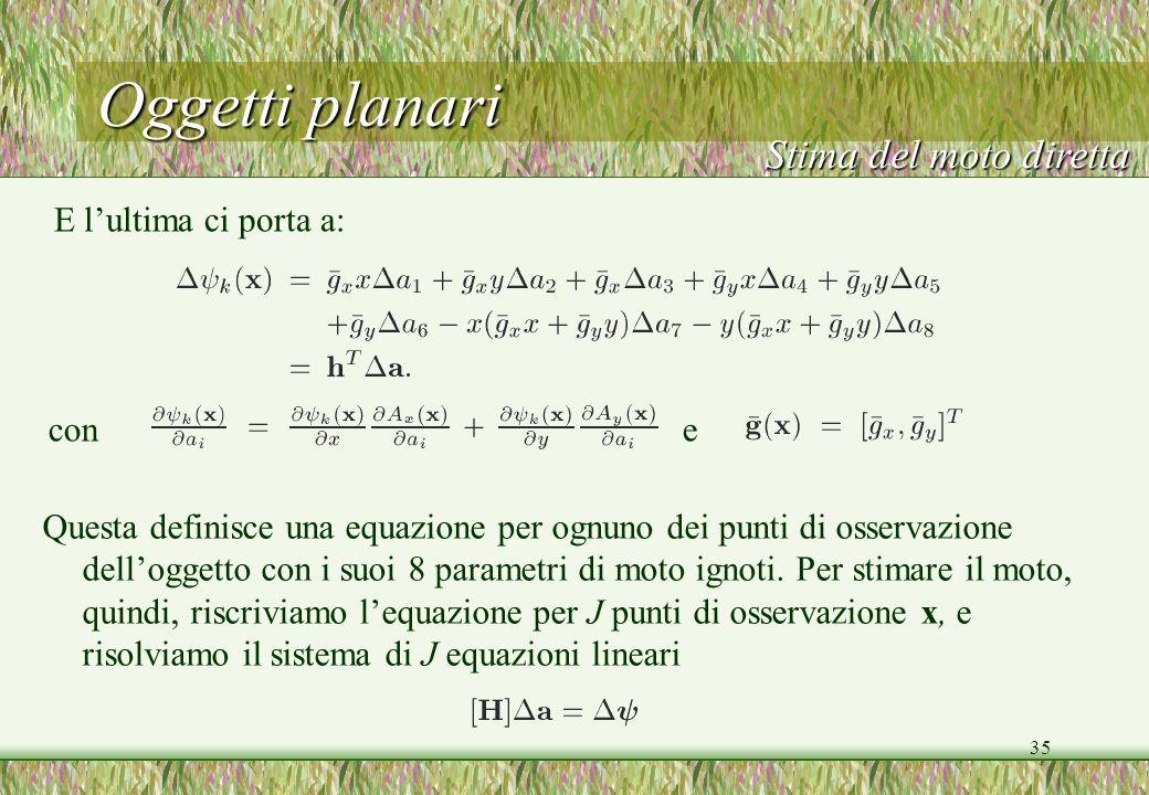35 Oggetti planari E lultima ci porta a: Stima del moto diretta con e Questa definisce una equazione per ognuno dei punti di osservazione delloggetto