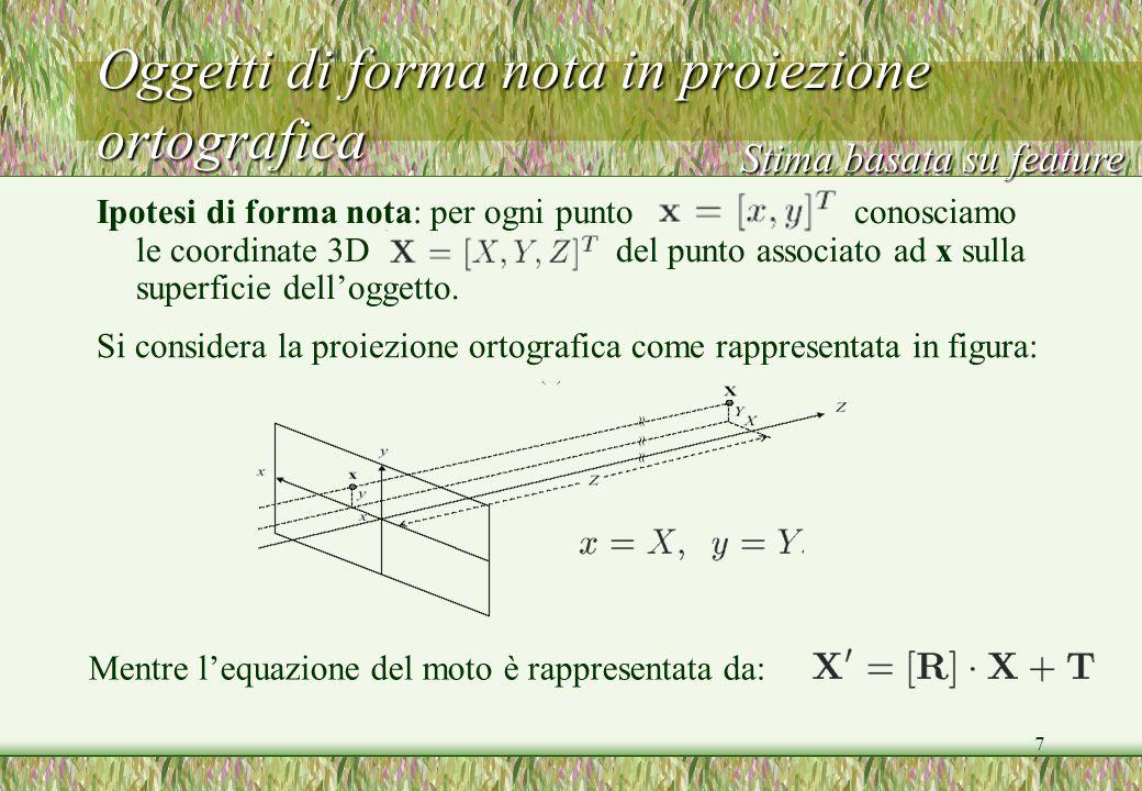 7 Oggetti di forma nota in proiezione ortografica Ipotesi di forma nota: per ogni punto conosciamo le coordinate 3D del punto associato ad x sulla sup